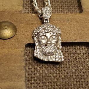 Other - Jesus diamond silver necklace